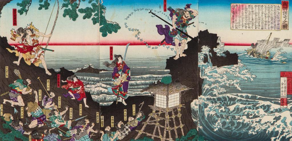 КУНІЙОСІ Утаґава (1797 – 1861) - Мінамото-но Таметомо потопив корабель ворожого клану однією стрілою. 1883