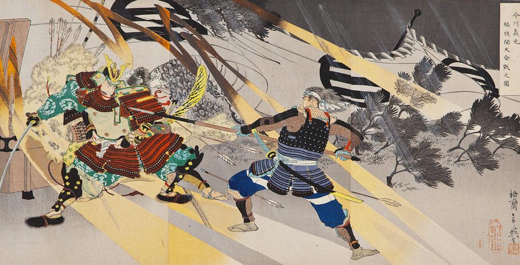 ТОСІХІДЕ Міґіта (1863 – 1925/1928) - Імаґава Йосімото під час битви при Окехадзамі.