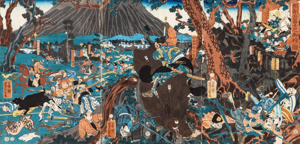 ЙОСІКАДЗУ Утаґава (роки творчості 1848 – 1863) - Сьоґун Мінамото-но Йорітомо на полюванні білля підніжжя гори Фудзі. 1859