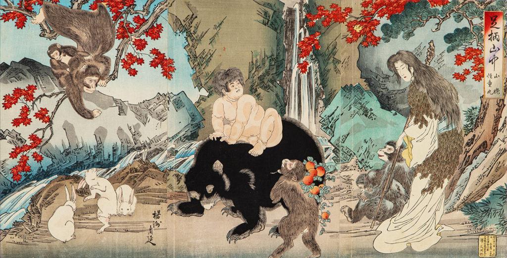 ТІКАНОБУ Тойохара (1838 – 1912) - Гірська жінка Ямауба спостерігає за молодим Кінтокі, який грає зі своїми друзями. 1890