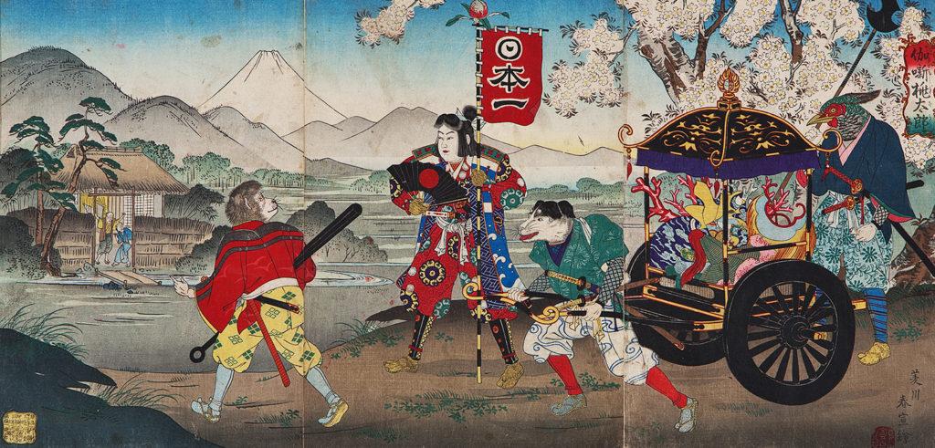 ХАРУНОБУ Ісікава (роки творчості 1875 – 1891) – Момотаро повертається додому зі скарбами. 1890