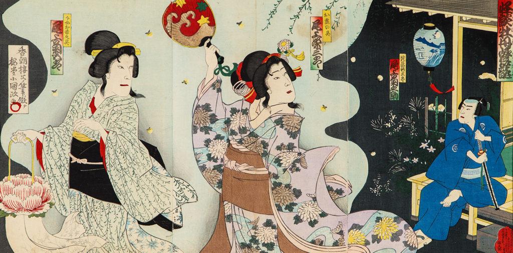 КУНІСАДА ІІІ Утаґава (1848 – 1920) – Сцена з вистави театру кабукі «Півонієвий ліхтар». 1892